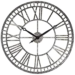 PresenTime & Co Modern Farmhouse Series, Kensington Metal Wall Clock, 24 inch, Galvanized Finish
