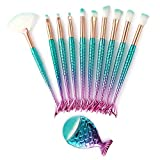11PCS Pinceles de maquillaje, Conjunto de pinceles sirena Precioso conjunto de pinceles de maquillaje azul gradual Pincel de maquillaje Pinceles cosméticos
