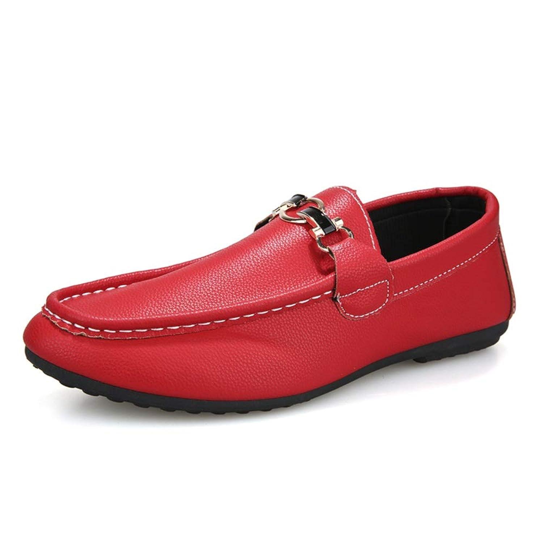 [Jusheng-shoes] メンズシューズ 人のための運転のローファーの適用範囲が広いボートのモカシンのスリップオンスタイルPUレザーMetaldecor単色 カジュアルシューズ