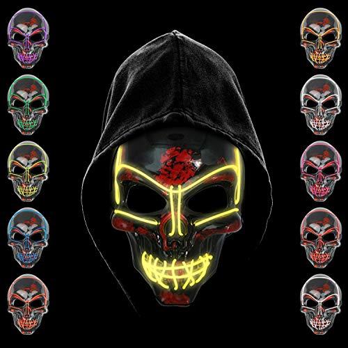 KiraKira LED Maske, LED Halloween Maske, Halloween Accessoires gruselig Halloween, Maske schrecklich Kostüm für Halloween Cosplay Karneval Parteien
