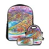 Conjunto de mochila escolar,Pez Arowana Magia Feng Shui Acuario Pez Dragón Chino Símbolo De Agua Escala Dorada,con bolsa de almuerzo y estuche para lápices para mochila para adolescentes