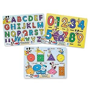 Melissa & Doug Disney Peg Puzzle Bundle-Alphabet, Numbers, Shapes & Colors