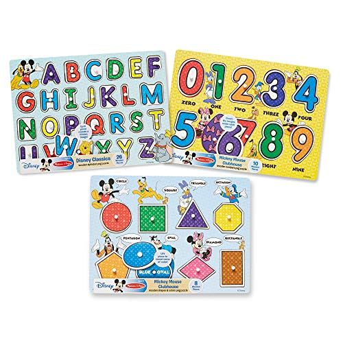 Melissa & Doug Disney Alphabet, Numbers, Shapes and Colors Peg Puzzle Bundle (3 Puzzles)