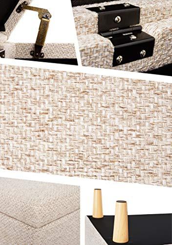 Sitzbank mit Stauraum Aufbewahrungsbox aus Leinen Sitzhocker und Deckel mit Holzfüßen Truhenbank Stoffbezug Gepolsterte Betthocker Modern Design für Wohnzimmer Büro Schlafzimmer Flur Beige - 6