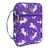 Inspring Bible Cover Case/Book Cover for Kids with Handle and Pocket fits NIV Adventure Bible, 9.8x6.5x2.4 in(Purple Unicorn)