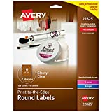 Avery 2' Round Labels, Sure Feed, Full Bleed Edge, Customizable Labels, 120 Glossy Clear Labels (22825)