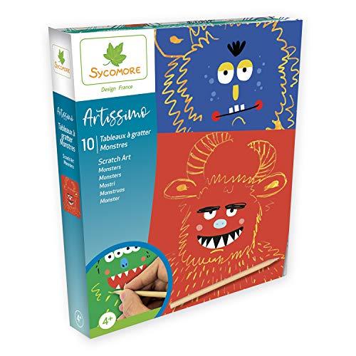 SYCOMORE-Artissimo-10 Tableaux à gratter-Monstres-Scratch Art-Loisirs Créatifs Enfant-Dès 4 ans-Sycomore-CREA002, CREA002, Plusieurs Couleurs