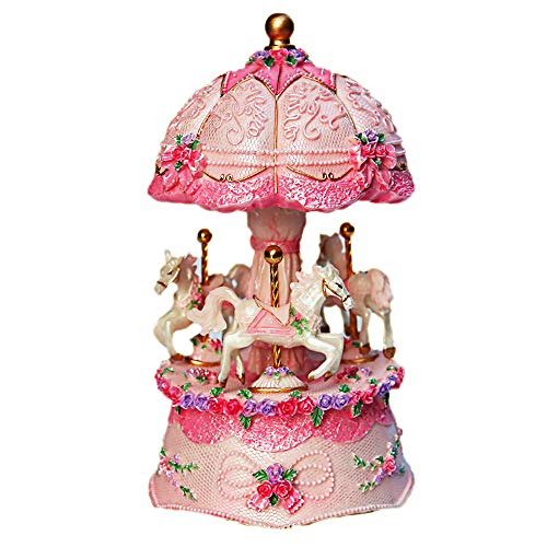 LOVE FOR YOU Carousel Horse Xmas Music Box Unicorn Birthday for Kids,Babies,Girls,Women,Friends or Woman,Color Change LED Light Luminous Rotating (Castle in The Sky, Pink)