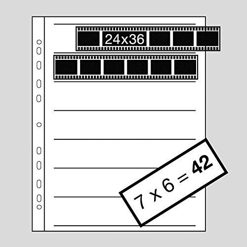 Kaiser KA2530 - Hojas Negativos (35 mm Papel, Horizontal 7 Tiras x 6 Negativos, Acetato), Transparente/Blanco