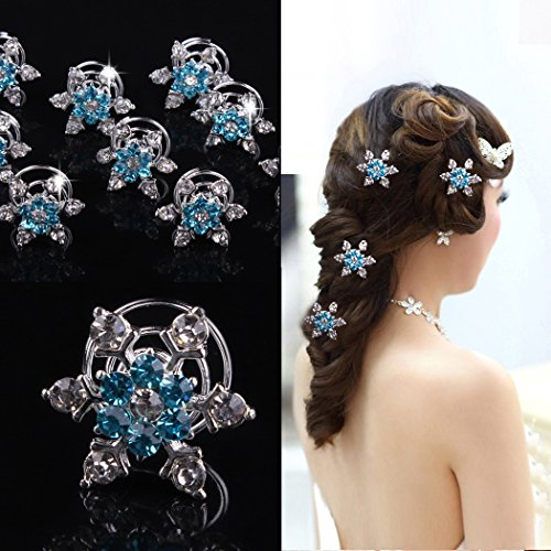 Jovono Boho Hair Clips Blue Crystal Headpieces Wedding Hair Accerssories for Women and Girls(4PCS)