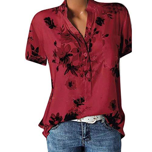 FMYONF Camiseta de mujer de talla grande, de verano, con estampado de flores, con botones, holgada, de manga corta, cuello en V rojo S