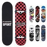 NACATIN Skateboard Completo para Adultos y Niños con Rotamiento 602 ABEC-9, 92A y 8 Capas de Madera de Arce Monopatin 80x20x11cm, Carga de 180 Kg para Principiantes y Profesionales Rojo