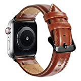 Compatible with Apple Watch Band 44mm 42mm for iWatch Bands Series 6 SE 5 4 3 2 1, MAPUCE Genuine Leather Band Replacement Strap Wristband for Men (Brown)