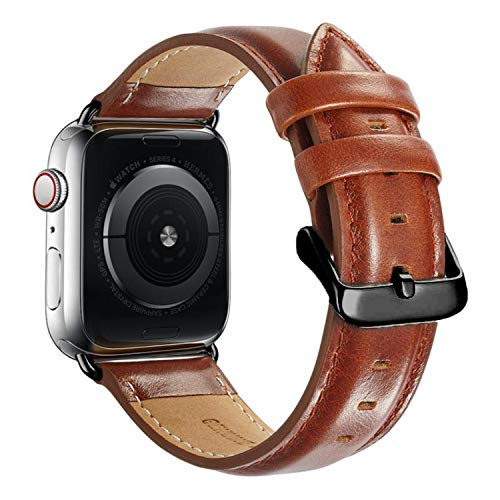 Compatible with Apple Watch Band 44mm 42mm for iWatch Bands Series 5 4 3 2 1, MAPUCE Genuine Leather Band Replacement Strap Wristband for Men, Quick and Easy Install (Brown)