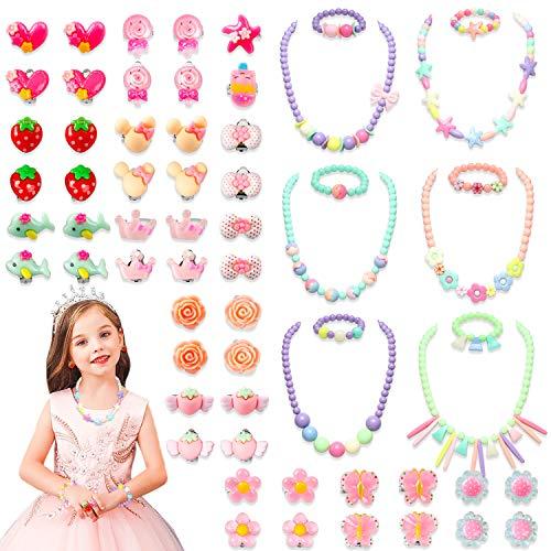 WATINC 62Pcs Candy Prinzessin Kinderschmuck Spielzeug Set Ringe Ohrringe Ohrclip Perlen Halsketten Armbänder Jewelry Princess Pretend Rollenspiel Dress Up Mädchenschmuck Geschenk für Geburtstag Party