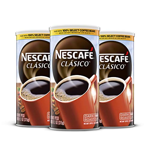 Nescafé Clasico, Dark Roast Instant Coffee, 11.1 oz. Resealable Canister, 3 Pack (480 cups total)