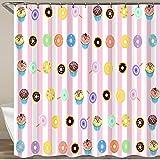 KGSPK Duschvorhang,Süßigkeiten Muster,Wasserfeste Bad Vorhang aus Polyestergewebe mit 12 Haken Duschvorhang 180x180cm