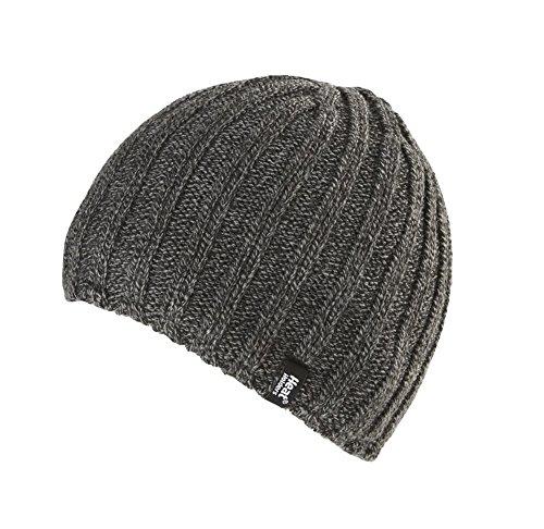 Heat Holders - Toison thermique doublée, homme côtelé Bonnet d'hiver 3.4 TOG - Une taille (Mens Hat), Grey, Taille Unique