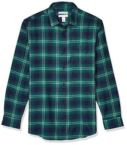 Amazon Essentials Men's Regular-Fit Long-Sleeve Plaid Flannel Shirt, Navy/Green Ombre, X-Small