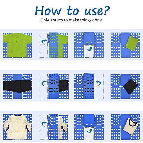 Doblador de Camisetas Camisas Ropa Adulto Infantil-Tabla para Doblar Ropa 57 * 70cm Azúl Plegar Camisetas Camisas Ropa