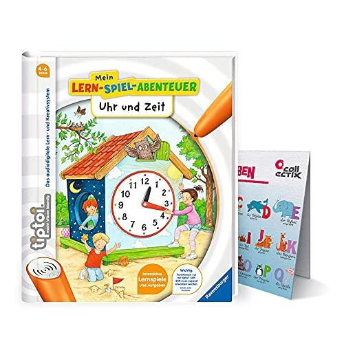 Collectix Ravensburger tiptoi Buch - Mein Lern-Spiel-Abenteuer   Uhr und Zeit + Kinder ABC Buchstaben Poster   4-6 Jahre