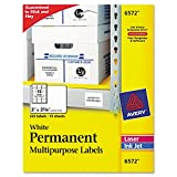Avery 6572 Permanent ID Labels Inkjet/Laser 2 x 2 5/8 White 225/Pack
