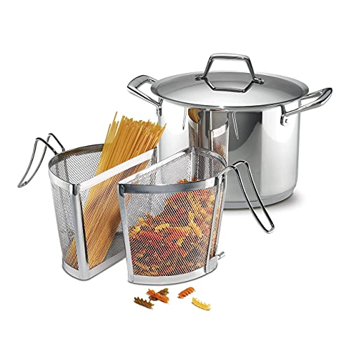 Tramontina 80101/036DS Gourmet Prima Stainless Steel, Induction-Ready, Impact Bonded, Tri-Ply Base Pasta Cooking Set, Made in Brazil, 8 Quart