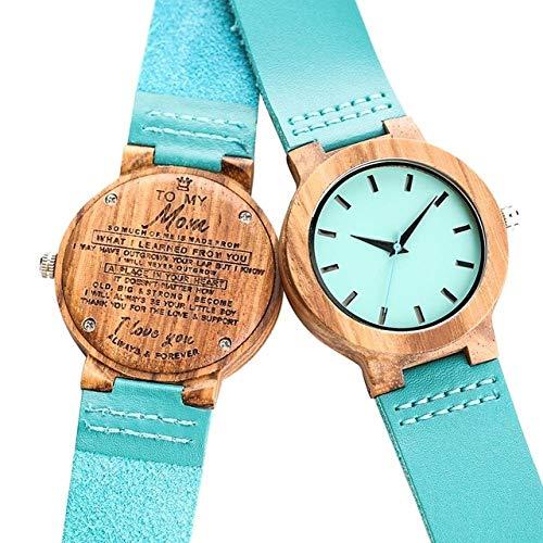 FMXKSW Reloj de Madera, Palabras Personalizadas grabadas de Bricolaje para mi Esposa...