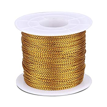 Spool Gold String Metallic Cord Tinsel String Craft Making Cord for Wrapping,Hair Braiding and Craft Making 100 Meters/ 109 Yards-1mm