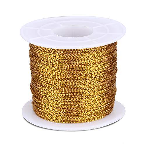 Cuerda de Navidad, 100 m de cordel con bobina, cuerda metálica de 1 mm, cuerda de poliéster para joyería, hilo de manualidades y cuerda de embalaje, color dorado