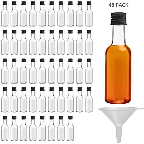 BELLE VOUS Mini Botellas de Licor (Pack de 48) - Botellas Pequeñas de Plástico 50ml Vacías - Tapa Negra de Rosca y Embudo- Verter Fácilmente y Llenado de Botellas - Mini Botella para Bodas y Fiestas