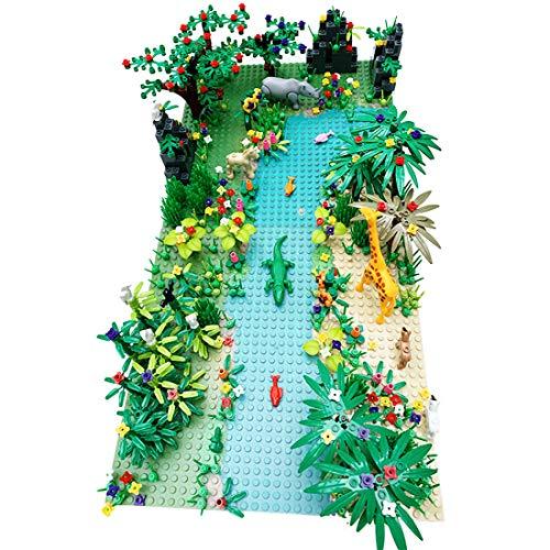 12che Dschungel Landschaft Tropische Regenwaldlandschaft Kleines Partikelbausteinset mit Grundplatte für 100% Bausteinmarken