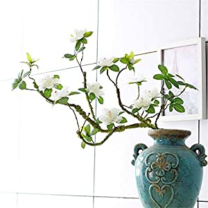 ZJJZH Artificial Decorative Flowers Artificial Rhododendron Fake Flower Branch Shape Home Decoration Chinese Zen Ceramic vase Display Floral 106cm Flower Products Include:Artificial Flowers.
