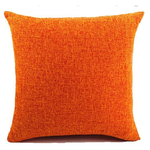 JT Fundas De Cojines Algodón de Lino Almohada Caso de la Cubierta del Amortiguador Cojines Decorativos Sofá Coche Cama diseño geométrico Fundas Cojines 70x70cm Naranja
