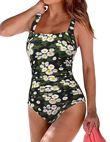 Hilor Women's One Piece Swimsuits Shirred Tank Swimwear Vintage Tummy Control Bathing Suits White Chrysanthemum 10