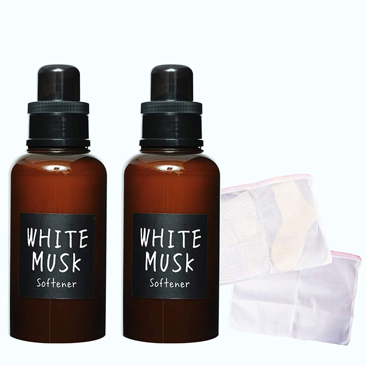 飾り羽ラバ前書きノルコーポレーション JohnsBlend 柔軟剤 ホワイトムスクの香り OA-JON-15-1(おまけ2WAY洗濯ネット)510ml×2本セット