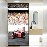 Pellicola autoadesiva statica per finestra per bagno, auto, sport motoristici rosso auto corsa vista laterale su una pista Le, casa bagno WC, decorazione Wc 40,7 x H85,4 pollici
