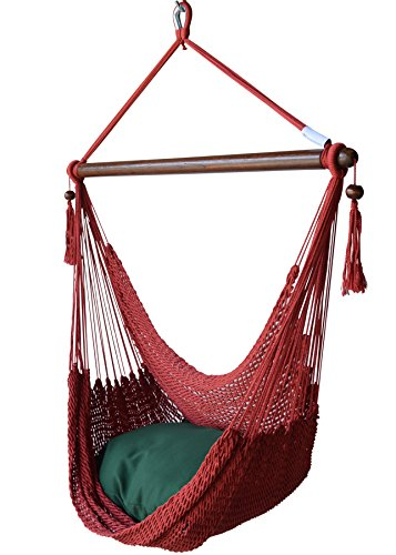 Caribbean Hammocks Chair with Footrest - 40 inch - Soft-Spun Polyester - (Red)