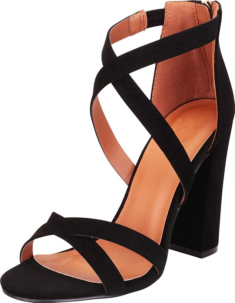 Cambridge Select OFFicial Women's Crisscross Strappy Chunky High Block New color He