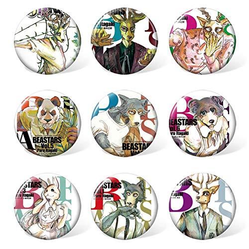 Fat Bear 9 unids/set Anime BEASTARS Legosi Haru Louis Cosplay Badge Bag Tie Badge Broche Pin Mochila Badge Kids Gifts(F H01)