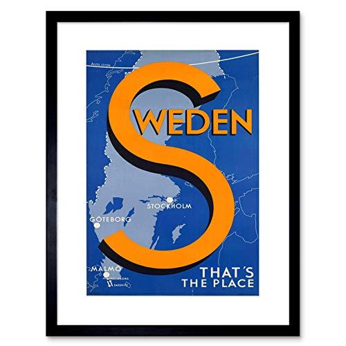 Wee Blue Coo Resa svenska scandinavia karta stockholm malmo baltisk inramad konsttryck B12X6537