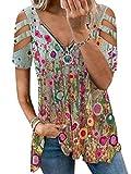Onsoyours Mujer Camiseta Moda Estampado Geométrico Retro Manga Corta Cuello de Pico la Parte Superior Blusa Casual Suelta T-Shirt Verano Tops Blusas Camisa A Estampado-7 M