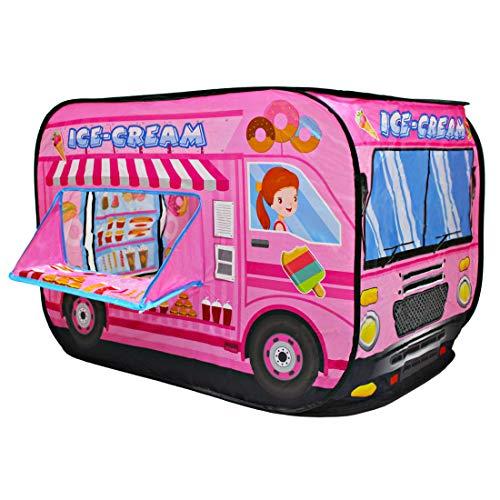 CASITA DE JUEGOS: ¿Está buscando un espacio de juego para los peques? ¡Esta carpa plegable es una excelente manera de brindarles un espacio propio! Puede utilizarse en interiores y exteriores. CARACTERÍSTICAS: Diseño de camión de helados (espacio par...