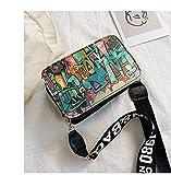 Mdsfe 2020 nuevos Bolsos de Mujer Summer Graffiti Ladies Bolsos de diseño Mini Bolso de Cadena Mujer Bolsos de Mensajero para Mujer Clutch - Negro
