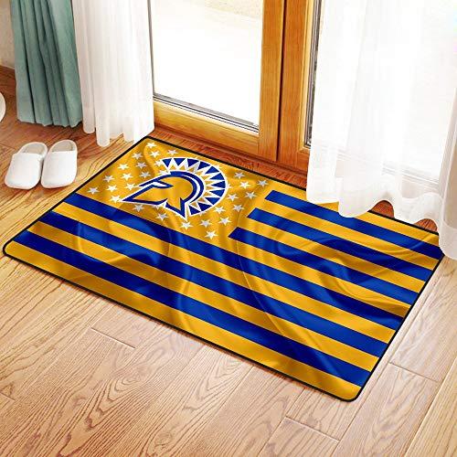 Küche Matte, Fußmatte Badezimmer Dusche Teppiche für Wohnzimmer San Jose State Spartans American Football Team kreative amerikanische Flagge gelbe blaue Flagge, Mikrofaser-Badezimmermatte 50x80 cm