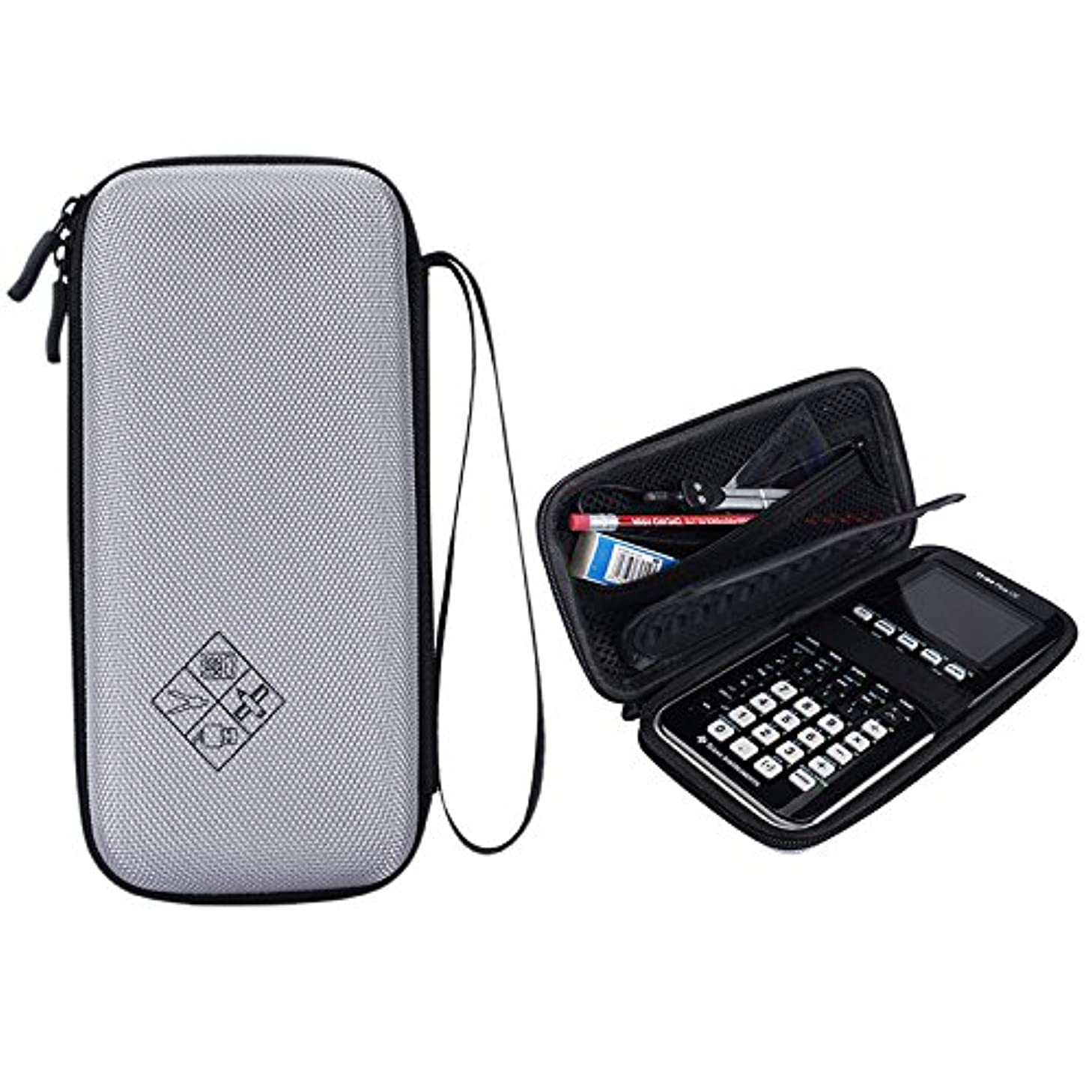 MASiKEN Hard EVA Carrying Case for Texas Instruments TI-84 Plus CE Graphing Calculator Pouch Box Extra Room for Pen and Stationer Protective CE Storage Bag