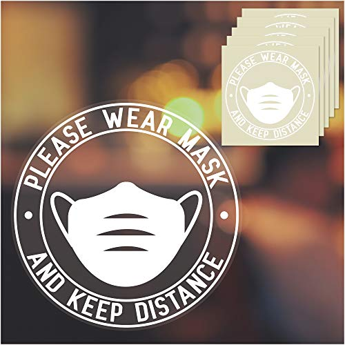 Face Mask Required Sign, 5-Pack Face Mask Sign, Clear Wear A Mask Sign Decal, 10 Inches Diameter