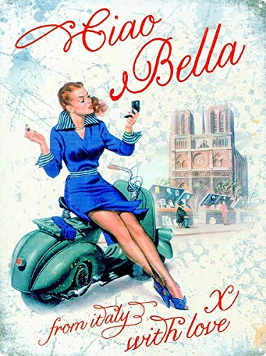 Ciao Bella Vespa Scooter Tin Sign Vintage Wall Poster Retro Iron Painting Metal Plaque Sheet for Bar Cafe Garage Home Gift Birthday Wedding