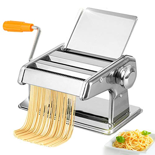 Thickness-Adjustable Manual Stainless Steel Pasta Maker Machine, Fixable Hand Crank Pasta Roller Cutter with 2 Thickening Slicers for Spaghetti/Noodle/Lasagna/Tagliatelle/Linguine/Dumpling Skins