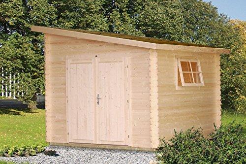 Gartenhaus mit Holztür Pinus P9 naturbelassen - 28 mm Blockbohlenhaus, Grundfläche: 7,30 m², Pultdach